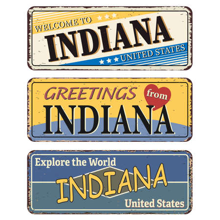 Vintage tin sign collection with US. Indiana State. Retro souvenirs or old paper postcard templates on rust background