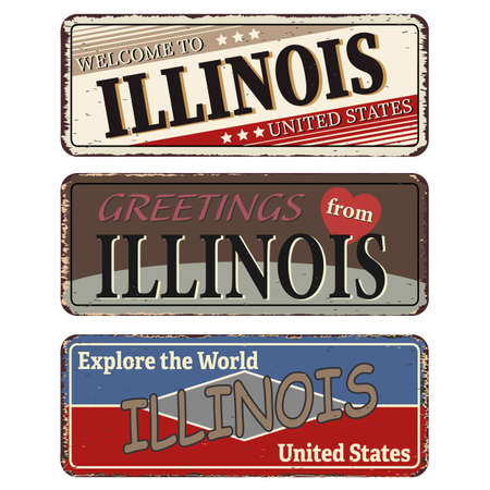 Vintage tin sign collection with US. Illinois State. Retro souvenirs or old paper postcard templates on rust background