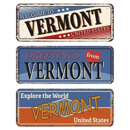 Vintage tin sign collection with US. Vermont State. Retro souvenirs or old paper postcard templates on rust background Ilustrace