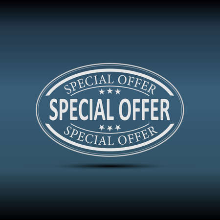 white special offer web badge button label tag on a blue background Çizim