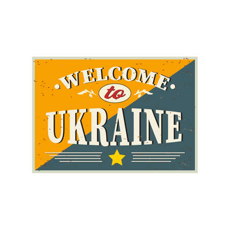 Welcome to Ukraine - Vintage greeting card on a white background