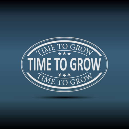 Time for growth oval web badge label icon on a blue background Reklamní fotografie