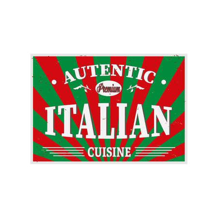Authentic Italian Cuisine Restaurant label Vintage   on a white background