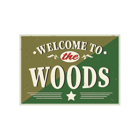 Welcome to the Woods Greeting card, Vector design. Texture effects can be easily turned off. Ilustrace