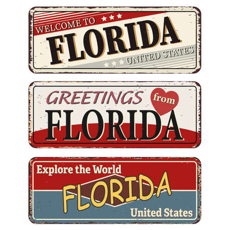Vintage tin sign collection with US. Florida State. Retro souvenirs or old paper postcard templates on rust background Ilustrace