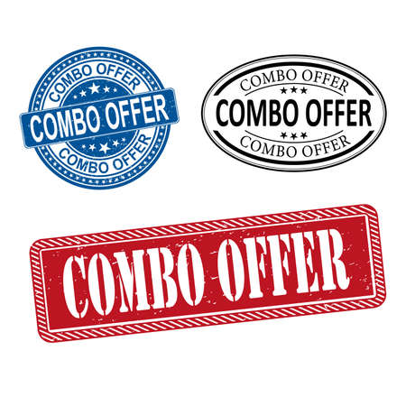 Combo offer rubber stamp label set on white background