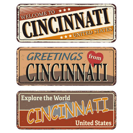 Vintage tin sign collection with US. Cincinnati State. Retro souvenirs or old paper postcard templates on rust background Ilustrace