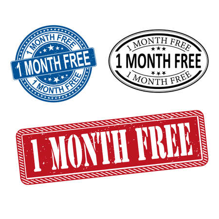1 MONTH FREE seal imprint with corroded texture. Rubber seal imitation has circle medallion form and contains ribbon. Red vector rubber print of 1 MONTH FREE title with corroded texture.