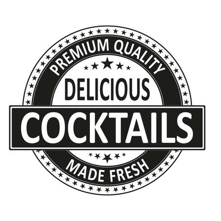 Vector Premium Quality Delicious Cocktail Icon Stamp Label Style