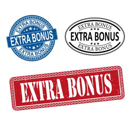extra bonus web rubber stamp badge set on a white Background Ilustrace