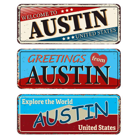 Vintage tin sign collection with US. AUSTIN City. Retro souvenirs or old paper postcard templates on rust background