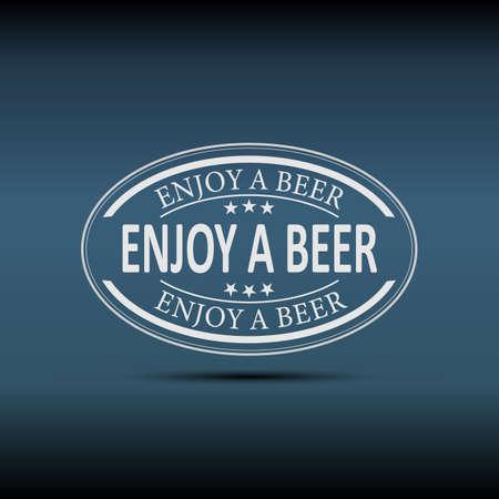 Enjoy a beer sign. Alcoholic beverage store, bar, pub. Night bright advertisement. Vector illustration
