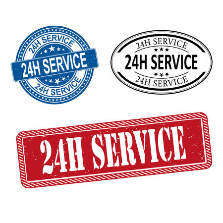 24h service stamp set vector illustration on a white background Stock Illustratie