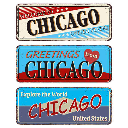 Vintage tin sign collection with US. Chicago City. Retro souvenirs or old paper postcard templates on rust background Ilustrace