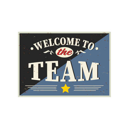 Welcome to the team vintage poster card banner on a white background Reklamní fotografie