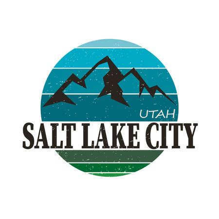 Grunge rubber stamp with name of Utah, Salt Lake City,  illustration