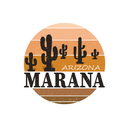 Landscape of Arizona state MARANA City. T-shirt and apparel vector design, print, typography, poster, emblem Ilustrace