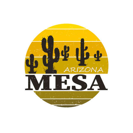 Landscape of Mesa Arizona. T-shirt and apparel vector design, print, typography, poster, emblem Ilustrace