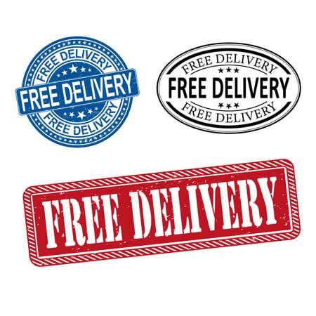 Grunge free delivery web rubber stamp set, vector illustration Ilustrace