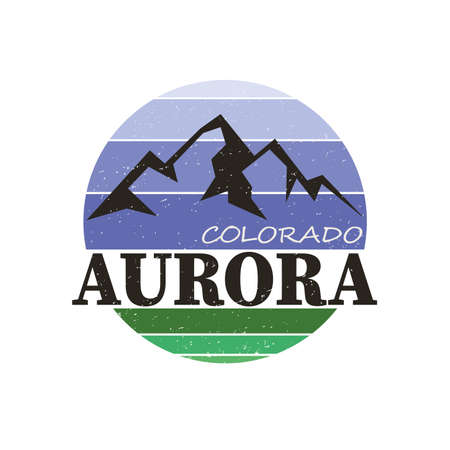 Aurora city travel destination in USA. Vettoriali