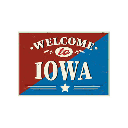 Vintage card Welcome to Iowa. Old classic style.