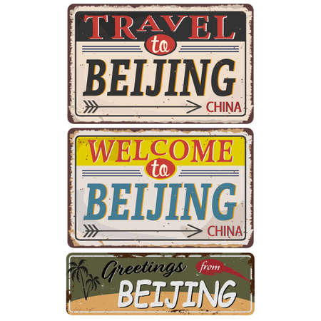 Vintage grunge Welcome to, Travel to, Greetings from, Beijing China rusted plate on white background Ilustrace