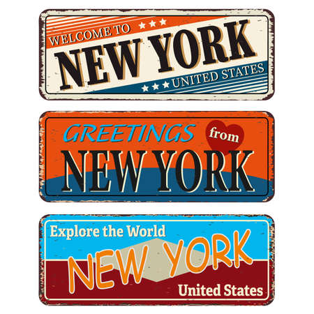 New York Retro souvenirs or old paper postcard templates on rust background. States of America