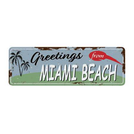 Miami beach vintage rusty metal sign on a white background, vector illustration Ilustrace
