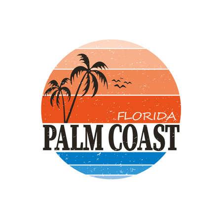 Florida PALM COAST city tee print  badge emblem on a white background Ilustrace