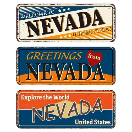 Vintage tin sign collection with US. Nevada State. Retro souvenirs or old paper postcard templates on rust background