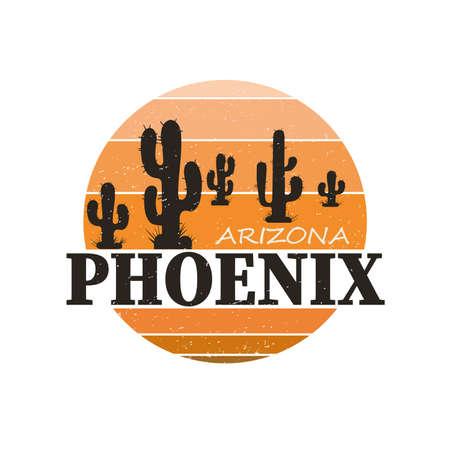 Phoenix Arizona city. T-shirt and apparel vector design, print, typography, poster, emblem