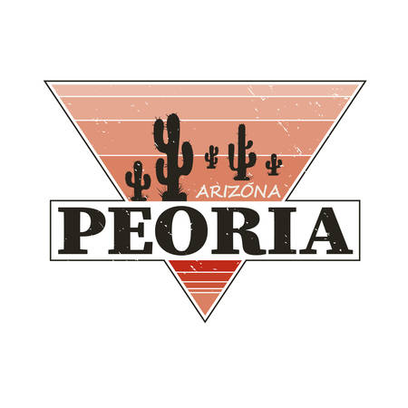 Peoria Arizona t-shirt design, print, typography, label with styled saguaro cactus. Vector illustration.