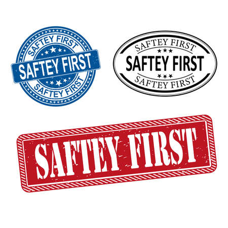 Stamp set with text safety first inside, illustration Stock Photo