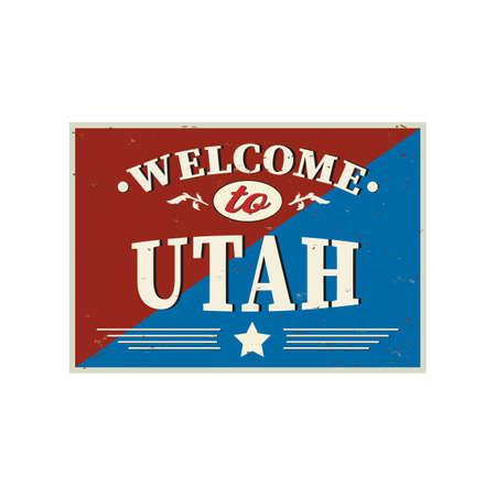 Welcome to Utah vintage sign on a white background, vector illustration Reklamní fotografie