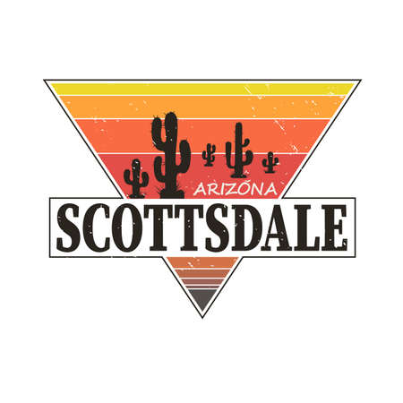 Scottsdale Arizona t-shirt design, print, typography, label with styled saguaro cactus. Vector illustration. 矢量图像