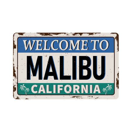 Malibu Beach, California retro vintage rusted metal plate poster.