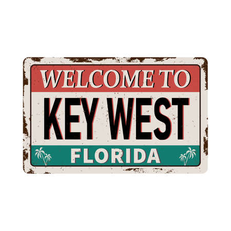 welcome to Key West florida - Vector illustration - vintage rusty metal sign  イラスト・ベクター素材
