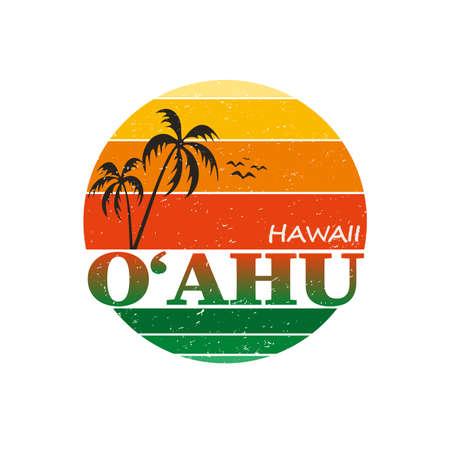 oahu hawaii vintage surf typography graphic design