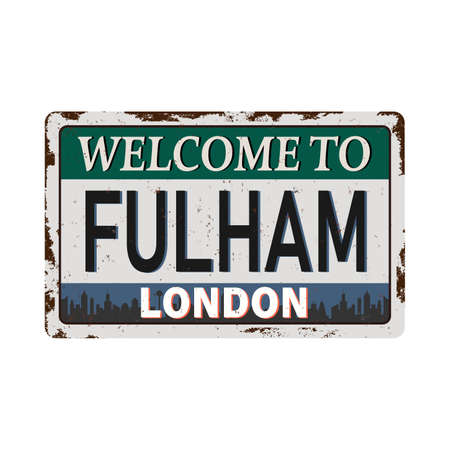 London Welcome to Fulham rusty old enamel sign Ilustrace