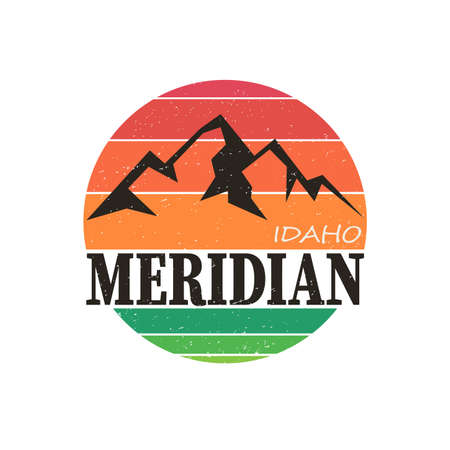 Meridian, Idaho. t-shirt graphic. Vector illustration on a white background