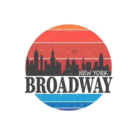 new york boadway t-shirt style vector art badge skyline