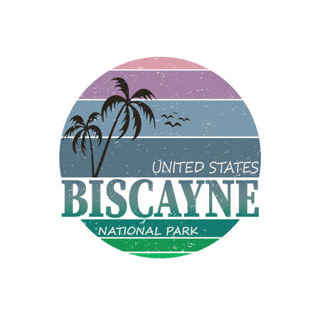 Biscayne bay, Florida. National park badge, sticker emblem