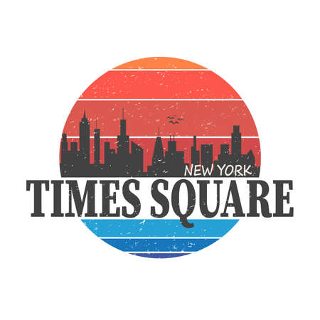 NYC times square typography, t-shirt graphics, vectors illustration