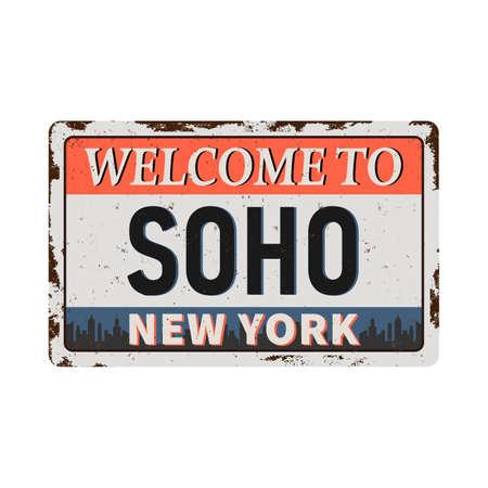 SoHo New York vintage rusty metal sign on a white background, vector illustration Reklamní fotografie