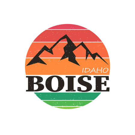 Boise City, Idaho, logo design. vector arts. Big logo with vintage letters with nice colored background