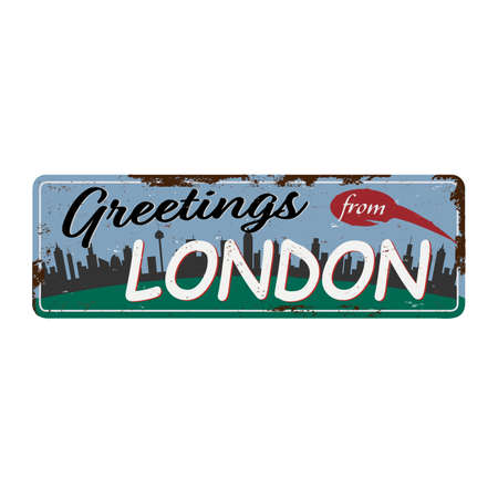Vintage Touristic Greeting Card rusted tin plate - London, UK - Vector EPS10. Grunge effects can be easily removed for a brand new, clean sign. Ilustrace
