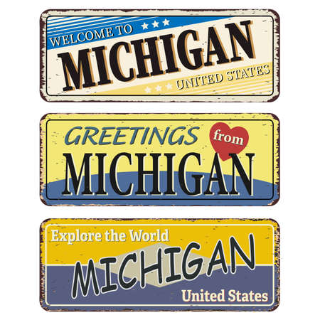 Michigan vintage rusty metal sign on a white background, vector illustration Ilustrace