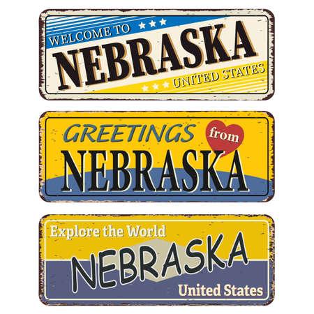 Nebraska vintage rusty metal sign on a white background, vector illustration Ilustrace