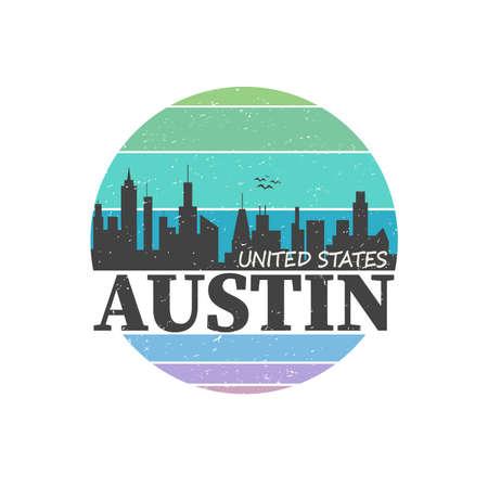 Austin Texas Skyline Souvenir Travel Vector Art Design Tourism