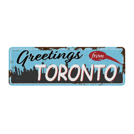 Toronto Canada city and travel destination Retro metal plate on old damaged background. Ilustrace